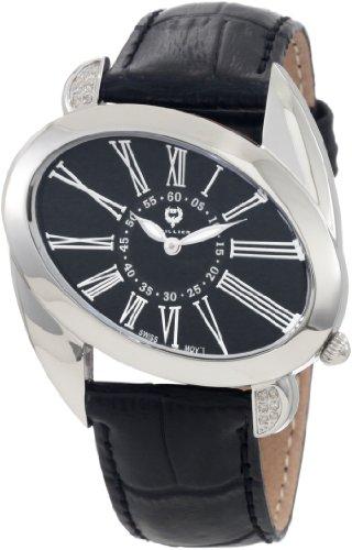 BRILLIER 15-01 - Reloj para mujeres, correa de cuero color negro