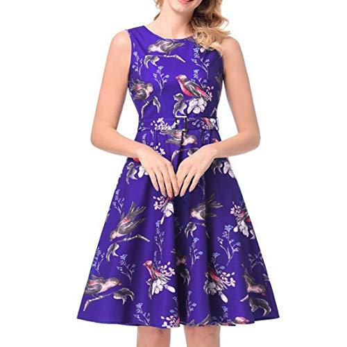 ZSRHH-Falda Vestido Mujer Estampado Floral sin Mangas