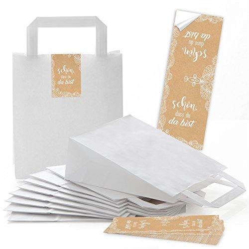 25 kleine weiße Papier-Geschenktüten Henkel Tragetaschen 18 x 8 x 22 cm + 25 SCHÖN DASS DU DA BIST beige creme natur Aufkleber Verpackung Spitze give-away Hochzeit Feste