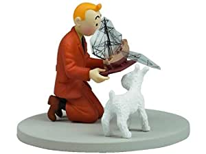 Tim & Struppi PVC-Figur mit Schiffsmodell in Panoramabox, ca. 10cm