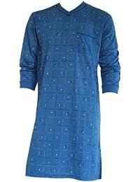 Herren Nachthemd mit langem Arm mit Motiv und V-Ausschnitt in 8 Farben Nr. 4940