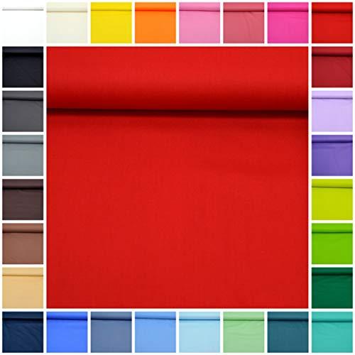 (MAGAM-Stoffe ''Sophie'' in 30 Farben | Baumwoll-Stoff Uni | 100% Baumwolle | Öko-Tex Qualität | Meterware ab 50cm (08. Rot))