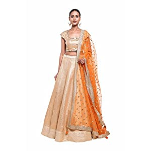 Pushp Paridhan Wedding Wear Traditional Ethnic Wear Mirror Work,With Hand Work Gold Lehenga Choli Set For Women