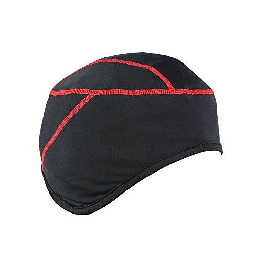TOFERN Skull Cap Fahrradhelm Mütze Helmmütze atmungsaktiv elastisch mit ohrenschutz, Rot