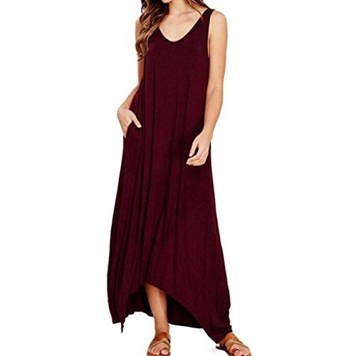 Vestidos Elegantes Mujer Moda 2018,Sonnena Vestido Maxi Largo Hippie Boho Mujer Verano para Cóctel Fiesta Playa (XL, Wine)