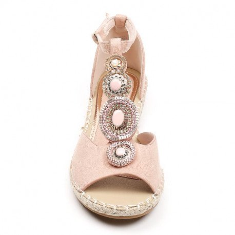 Ideal Shoes - Sandales plates effet daim et incrustées de strass Genova Rose