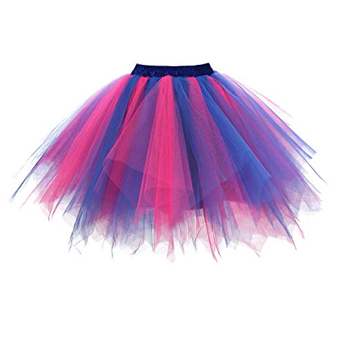 DresseverBrand Damen Petticoat 50er Rockabilly Jahre Retro Tutu Ballet Tüllrock Cosplay Crinoline Blau-Fuchsia XX-Large - Erwachsenen Ballett-tutu