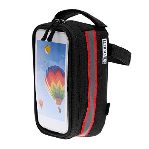 MagiDeal MTB Bike Fahrradgepäcktasche Pannier Steuerrohr Tasche Werkzeug Beutel mit Reflexstreifen, prakatisch & wasserbeständig Rot
