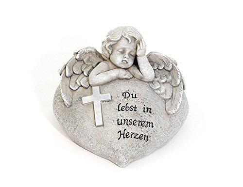 Engel auf Herz Grab Grabschmuck Grabstein Trauerstein