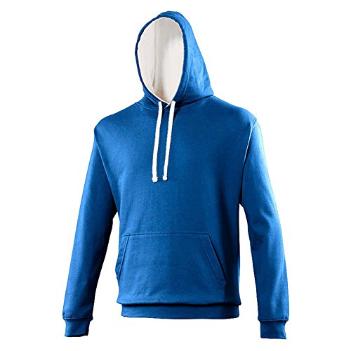AWDis Herren Kapuzenpullover Gr. XS, Royal Blue/ Arctic White (Jacket Flannel Mens Hooded)