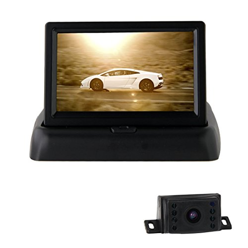 Pathson 4,3 Pouces Couleur TFT LCD Moniteur Pliant + Caméra de Recul Étanche Nocturne 8 IR Lampes 120°Vue Arrière de Voiture