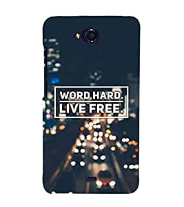 FUSON Word Hard Live Free 3D Hard Polycarbonate Designer Back Case Cover for Micromax Canvas Play Q355