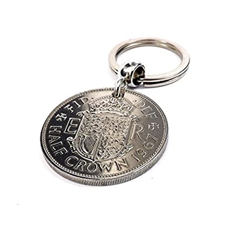 Genuine 1967 Half Crown Coin Keyring 50th birthday