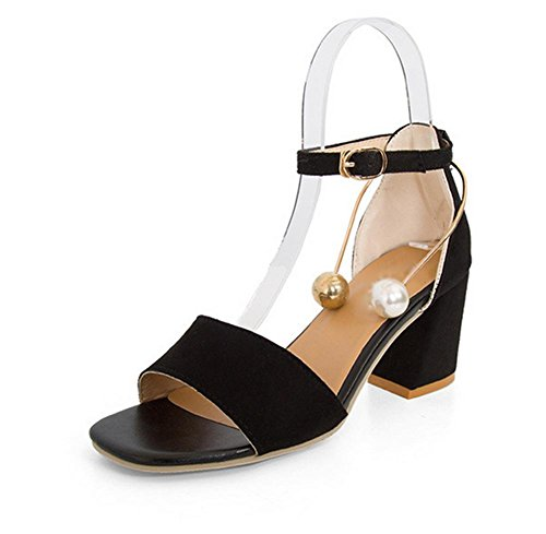 Sommer hochhackige Sandalen weibliche Perlen großen quadratischen Kopfes dick mit offenen Sandalen Schnalle Black