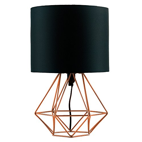 Rose gold table lamp amazon modern copper metal basket cage style table lamp with a black fabric shade mozeypictures Gallery
