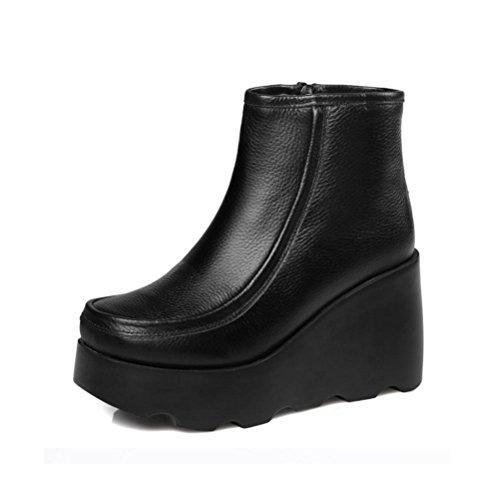 WYWQ Womens Damen Wedge Kurze Stiefel High-Heeled Echtes Leder Mode Stiefel Runde Kopf Seitlichem Reißverschluss Wasserdichte Rutschfeste Größe , black single , 38 Breite Kalb Stiefel Größe 8 Für Frauen