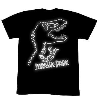 Jurassic Park - Mens Neon Jurassic T-Shirt In Black, Size: Large, Color: Black