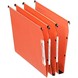 Esselte Dossier Suspendu Latéral, Multi-Dossiers, Fond 30 mm, A4, Lot de 25, Onglets inclus, Orange, Orgarex, 21629