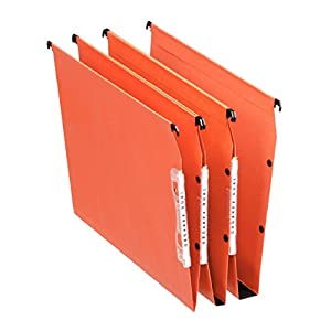 Esselte Dual Lateral Suspension Files, A4, 30mm Capacity, Pack of 25 Connectable Files, Tabs Included, Orange, Orgarex Range, 21629