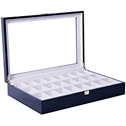 Feibrand Wooden Watch Display Storage Box Case for 24 Watches Black