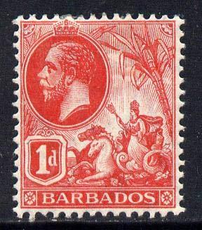 Barbados 1912-16 KG5 MCA 1d red mounted mint SG 172 BRITANNIA KG5 JandRStamps -