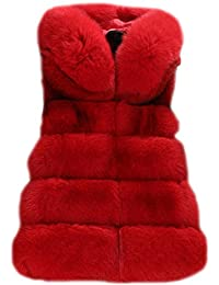 Mujeres Abrigo Chaleco Faux Pelaje Blusa Capucha Coat Jacket Cardigans Outwear Vest