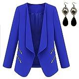 Sitengle Damen Elegant Blazer mit Zipper Tasche Casual OL Suit Mäntel Anzug Kostüme Tops
