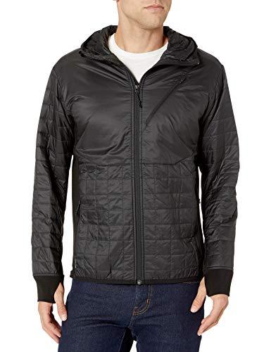Icebreaker Merino Men\'s Helix Long Sleeve Zip Hood Down Alternative Outerwear Coats, X-Large, Black/Jet Heather