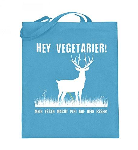 Hochwertiger Jutebeutel (mit langen Henkeln) - Hey Vegetarier! Hellblau