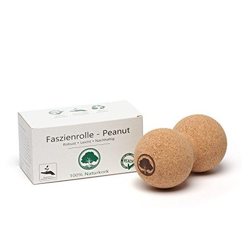 AWORA Faszienrolle - Peanut aus 100{a1727395ef954d3066673310f4018c6f4a72b5dbaceef2f26f464e377f849075} Kork für Selbstmassage | Peanutball | Massageball | Duoball | Faszienball für Triggerpunkt-Massage (8 x 16 cm)