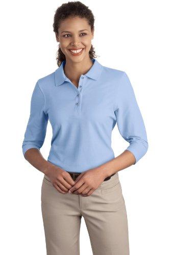 Autorité portuaire Femme-Silk Touch - 3/4–manches chemise Sport L562 Bleu - Bleu clair