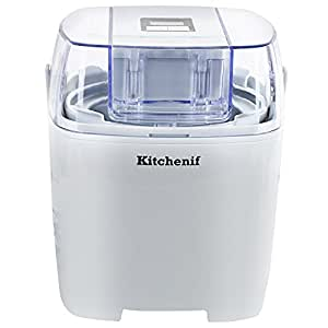 Kitchenif Digital Ice Cream, Sorbet, Slush & Frozen Yoghurt Maker Capacity 1.5 Liters (White)