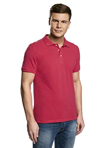 oodji Ultra Herren Pique-Poloshirt, Rosa, DE 56/XL