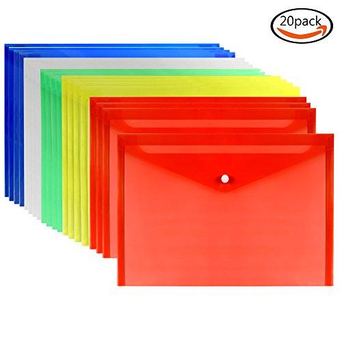 Dokumentenmappe mit Druckknopf , Premium Qualität Poly Umschlag, A4 Größe, Set von 20 in Verschieden 5 Farben