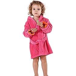 MICHLEY BéBé Peignoir Coton Encapuchonné Serviette Animal Dinosaure Style Filles Doux Dormeur Rose-(3-5T)