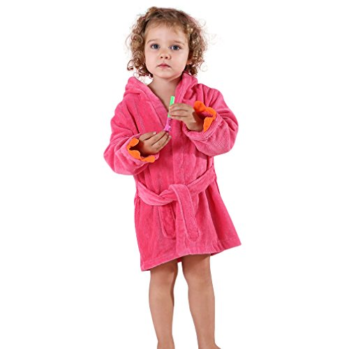 MICHLEY Baby Kinder Mädchen Bademantel Dinosaurier Badetücher 100% Baumwolle kapuzenhandtuch (Rose 1-3T)
