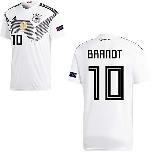 adidas Fußball DFB Deutschland Home Trikot WM 2018 Herren Brandt 10 mit Respekt Logo Gr XL