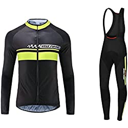 Uglyfrog #03 2017 Nuevo De Invierno Mantener caliente Manga Larga Maillot Ciclismo Hombre Bodies +Long Bib Pant with Gel Pad Winter Style