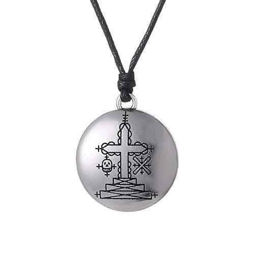 fishhook Collar con colgante de talismán de Wicca Papa Ghede Voodoo Loa Veve