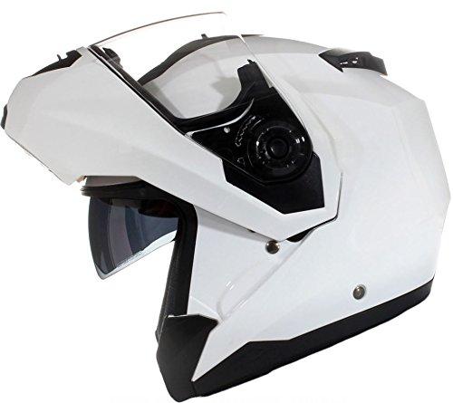 Qtech Casco MODULARE per Moto con Integrale Doppia Visiera - Bianco Lucido - XS (53-54cm)
