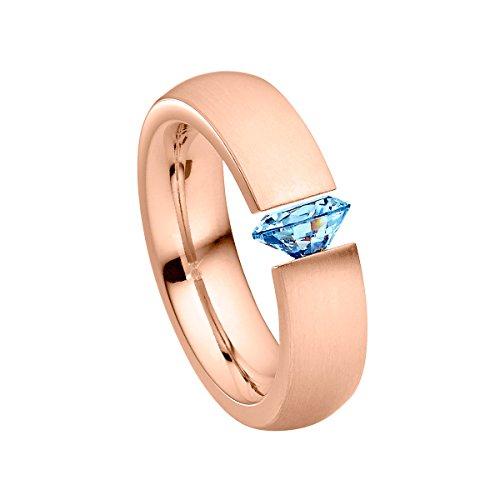 Heideman Ring Damen Harmonia aus Edelstahl Rosegold farbend matt Damenring für Frauen mit Swarovski Stein Zirkonia blau im Brillant Schliff 7mm