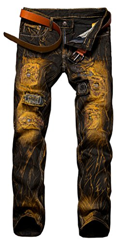 SMITHROAD Herren Jeans Hose Slim Fit Röhrenjeans Destroyed Risse Jeanshose Patch Vintage Style Verwaschen Usedlook für Männer Jungen Gr.34