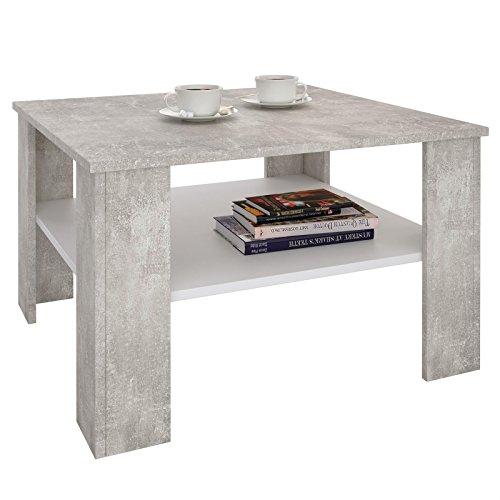 CARO-Möbel Couchtisch Wohnzimmertisch Felice in Beton Optik/weiß mit Stauraum, 68x68 cm
