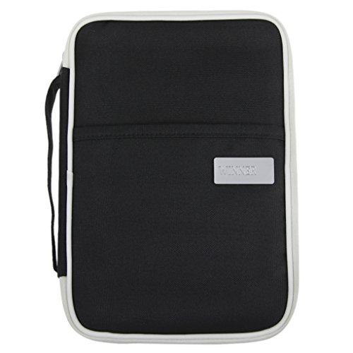 Multifunktionale Reisepasstasche Dokumententasche Reiseorganizer Reisebrieftasche Handtasche mit Reißverschluss für Damen und Herren, Schwarz, 25*18 CM (Tasche Brieftasche Scheckheft)