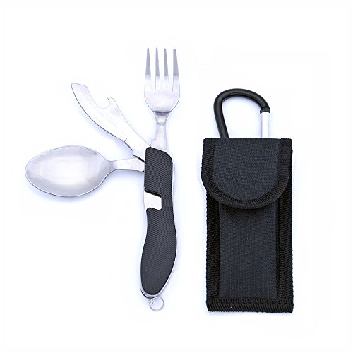 Outdoor Camping Stainless Steel Multi Function Spoon Fork Tableware Dishware Picnic Cutting Knife Bottle Opener Carabiner Sports & Entertainment Camping & Hiking