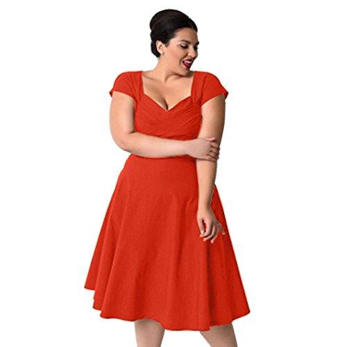 Große Größe Kleid Abendmode feiXIANG Kurze ärmel Formal Cocktailkleid Swing - Kleid Prinzessin Rock (5XL, Orange) (Orange Ist Das Neue Schwarze Kostüm)