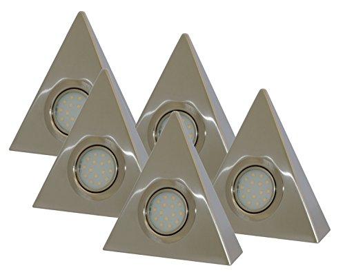 Rolux DF-1940, 5er Set, Zentralschalter, 5x 3W, A+, LED Dreieckleuchten aus Edelstahl, Metall, 3 watts , warmweiß, 15 x 15 x 0.5 cm