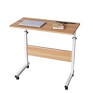 DlandHome 80 * 40 cm Tavolino Computer con Tavolino Regolabile in Altezza a Rulli con 4 Rotelle Bloccabili per Ufficio/Camera da Letto,con Slot per Tablet, Quercia