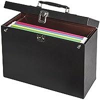 JackCubeDesign Oficina de cuero Archivo colgante Carpeta de archivo Archivador Caja de almacenamiento de documentos Organizador Sostenedor Colgador para Bolso maletín con cerradura con llave (Negro, 35 X 14.2 X 28 cm) -: MK151A