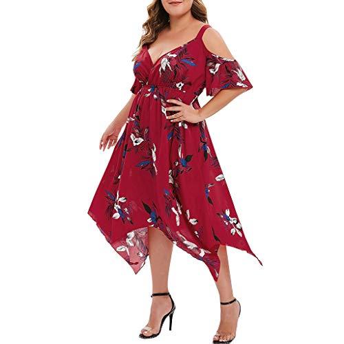 VJGOAL Damen Kleid, Frauen Plus Size Mode V-Ausschnitt Floral Maxi Abend Cocktail Party Hochzeit Boho Strand Frühling Sommerkleid (XL / 44, U-Blume-Rot)